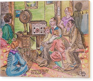 Listening To The Radio Wood Print