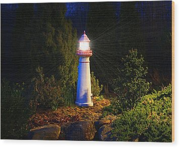 Lit-up Lighthouse Wood Print by Kathryn Meyer