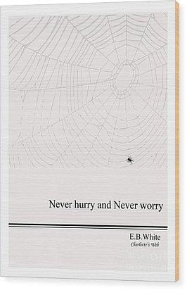 Literary Quote- E.b. White - Cw Wood Print