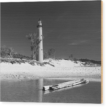 Litle Sable Light Station - Film Scan Wood Print by Larry Carr