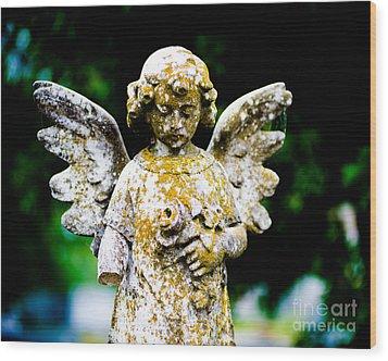 Little Angel Wood Print by Sonja Quintero