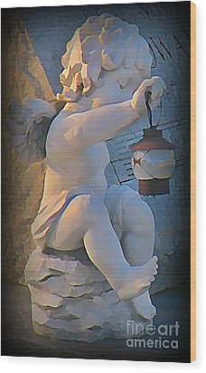 Little Angel With Lantern Wood Print by John Malone