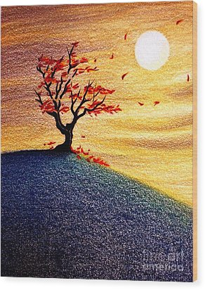 Little Autumn Tree Wood Print by Danielle R T Haney