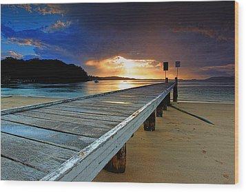 Little Beach Aglow Wood Print by Paul Svensen