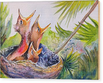 Little Beaks Wood Print by Patricia Piffath