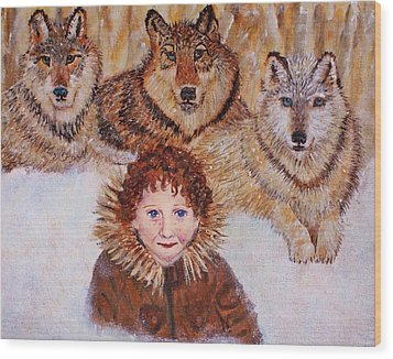 Little Bernard And The Wolves Wood Print by The Art With A Heart By Charlotte Phillips