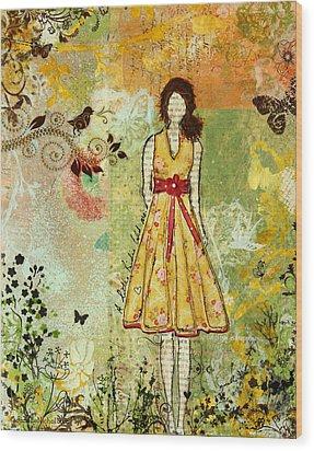 Little Birdie Inspirational Mixed Media Folk Art By Janelle Nichol Wood Print by Janelle Nichol