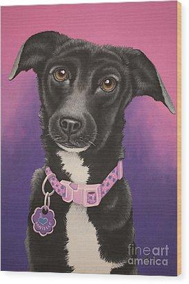 Little Black Dog Wood Print by Tish Wynne