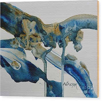 Little Blue Abstract 1 Of 6 Wood Print by Donna Acheson-Juillet