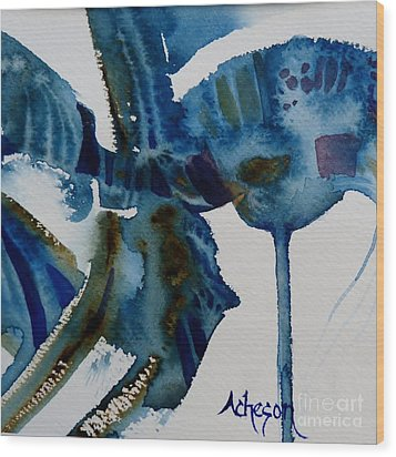 Little Blue Abstract 2 Of 6 Wood Print by Donna Acheson-Juillet