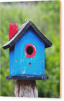 Little Blue Birdhouse Wood Print by Karon Melillo DeVega
