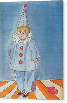 Wood Print featuring the painting Little Blue Clown by Arlene Crafton