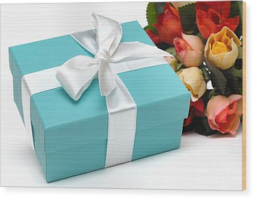 Little Blue Gift Box And Flowers Wood Print by Amy Cicconi