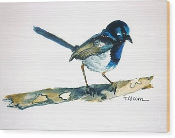 Wood Print featuring the painting Little Blue Wren - Original Sold by Therese Alcorn