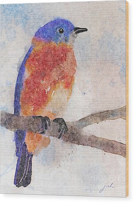 Little Bluebird Wood Print by Joan A Hamilton