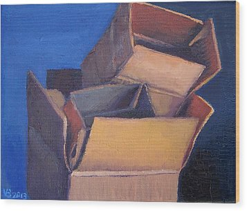 Little Boxes-red Yellow Blue Wood Print