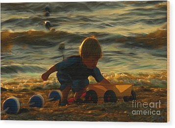 Little Boy On The Beach Wood Print by Jeff Breiman