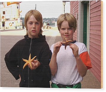 Little Boys At Halifax Harbour Wood Print by Brenda Anne Foskett