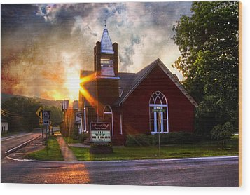 Little Brick Chapel Wood Print by Debra and Dave Vanderlaan