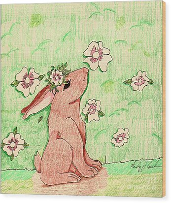 Little Bunny Big Dreams Wood Print