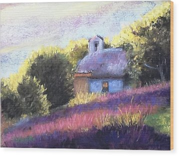 Wood Print featuring the pastel Little Chapel by Cindy Plutnicki