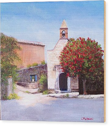 Little Chapel France Wood Print by Cindy Plutnicki