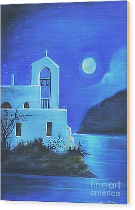 Wood Print featuring the painting Little Church By The Sea by Sgn