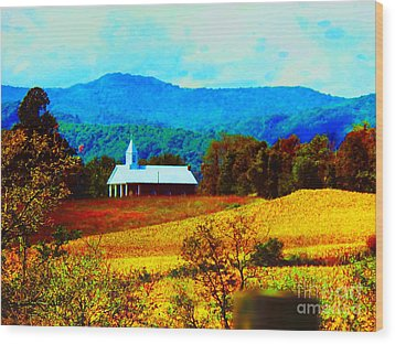 Little Church In The Mountains Of Wv Wood Print by Gena Weiser
