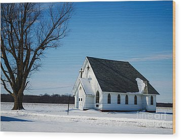 Little Church On The Prairie Wood Print by Luther Fine Art