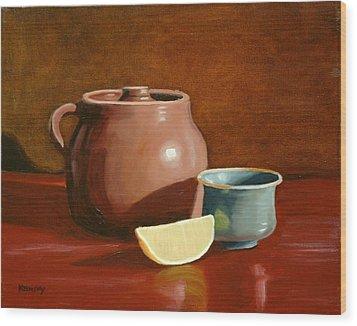 Little Clay Pots And Lemon Wood Print by Daniel Kansky