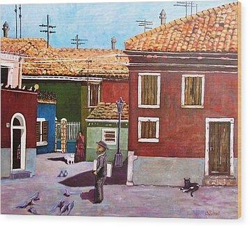 Little Corner Of Venice Wood Print by Caroline Street