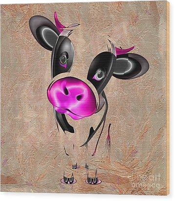 Little Cow Wood Print by Liane Wright