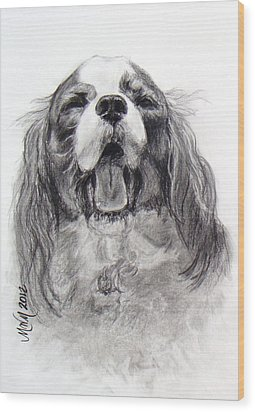 Little Dog Big Name Wood Print by Michelle Wolff