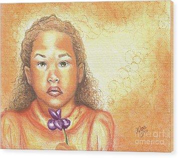 Wood Print featuring the mixed media Little Doll by Alga Washington