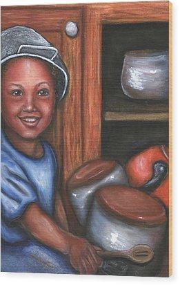 Wood Print featuring the mixed media Little Drummer Boy by Alga Washington