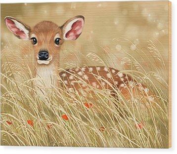 Little Fawn Wood Print by Veronica Minozzi