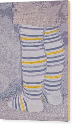 Little Feet-yellow Wood Print by Molly McPherson