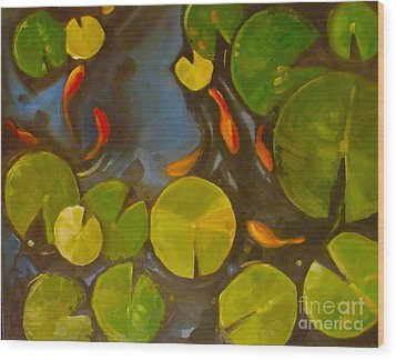 Little Fish Koi Goldfish Pond Wood Print