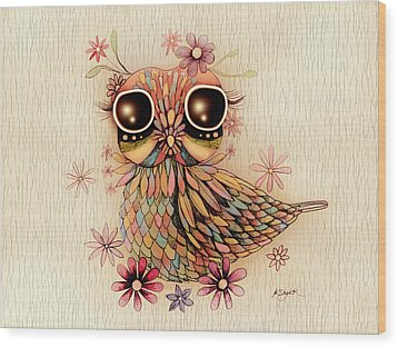 Little Flower Owl Wood Print by Karin Taylor