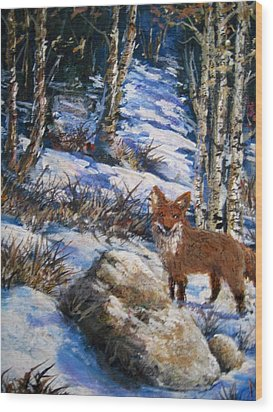 Wood Print featuring the painting Little Fox by Megan Walsh
