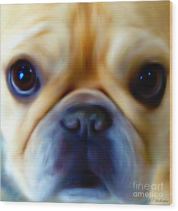 Little Frenchie Face Wood Print by Barbara Chichester