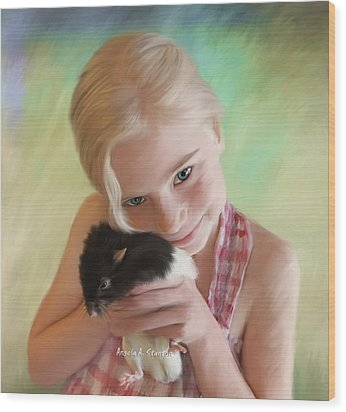 Little Girl And Pet Rat Wood Print by Angela A Stanton
