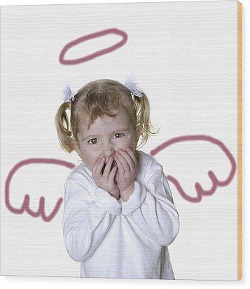Little Girl Angel Wood Print by Lane Erickson