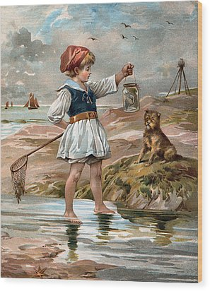 Little Girl At The Beach Wood Print by Unknown