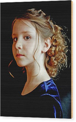 Little Girl Blue Wood Print by Jon Van Gilder