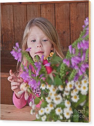 Little Girl Flower Arranging Wood Print by Valerie Garner