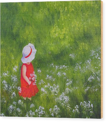 Girl In Meadow Wood Print by Roseann Gilmore
