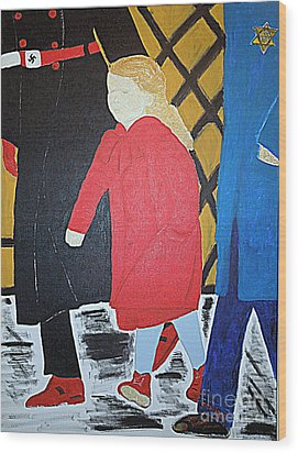Little Jewish Girl In The Red Coat Wood Print