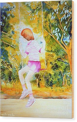 Little Girl On The Park Swing Westmount Quebec City Scene Montreal Art Wood Print by Carole Spandau