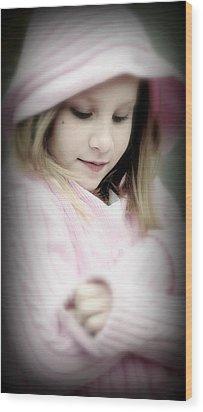 Little Girl Pink Wood Print by Jon Van Gilder